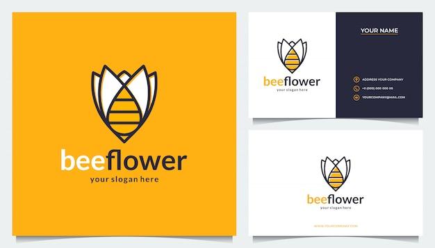 Projekt logo kwiatka z połączeniem pszczół i wizytówek