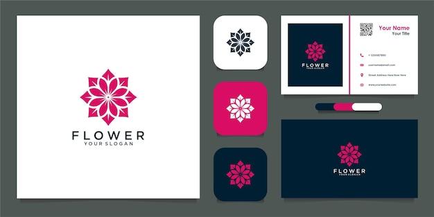 Projekt logo kwiatów i wizytówka premium wektor