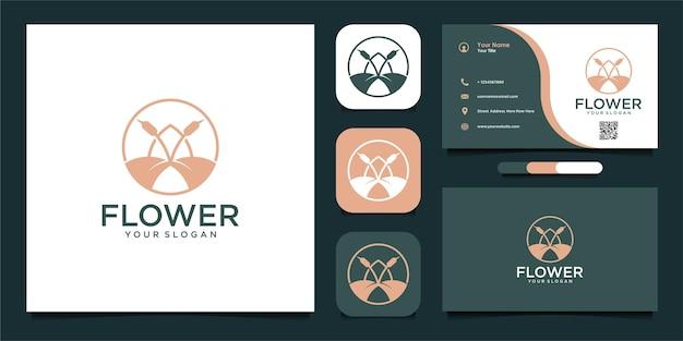 Projekt logo kwiatowego w stylu sztuki linii