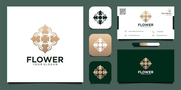 Projekt logo kwiatowego z abstrakcyjnym stylem artystycznym i wizytówką