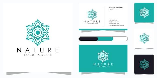Projekt logo kwiatowego ze stylem grafiki liniowej i projektem wizytówki