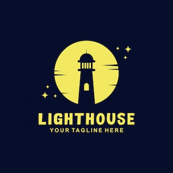 Projekt logo latarni morskiej o płaskim stylu
