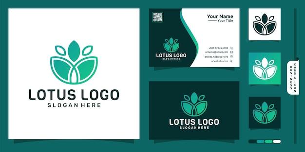 Projekt logo linii kwiat lotosu i wizytówka premium wektor