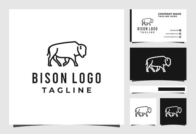 Projekt logo linii żubrów wektor zwierzę premium