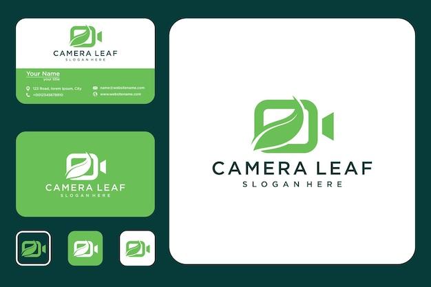 Projekt logo liścia aparatu i wizytówka