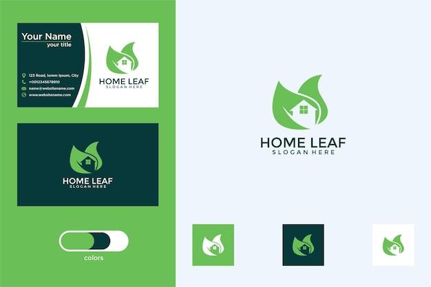 Projekt logo liścia domu i wizytówka