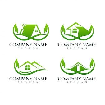 Projekt logo liścia nieruchomości