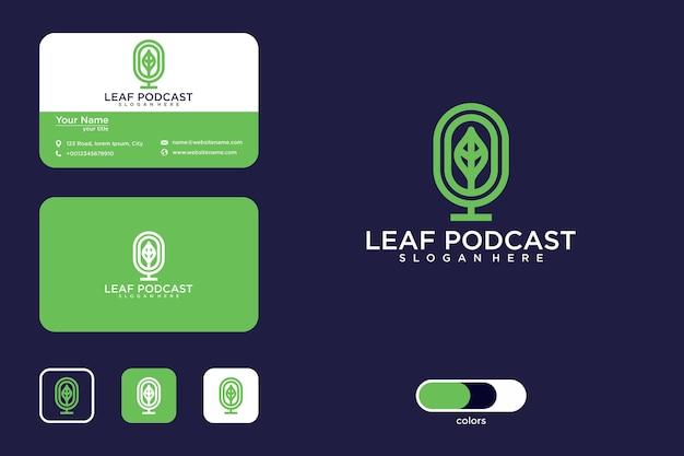 Projekt logo liścia podcastu i wizytówka