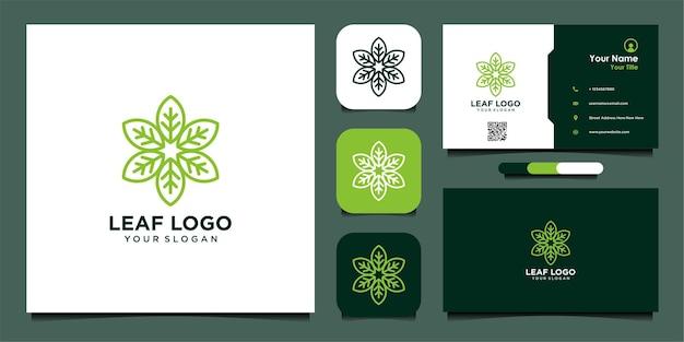 Projekt logo liścia z linią i wizytówką