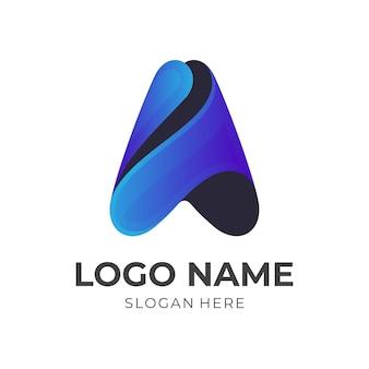 Projekt logo litery a w kolorowym stylu 3d
