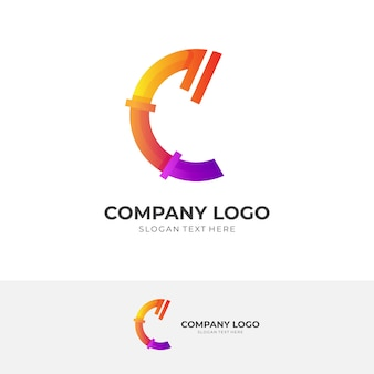 Projekt logo litery c w kolorowym stylu 3d