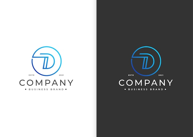 Projekt logo litery d w kształcie koła