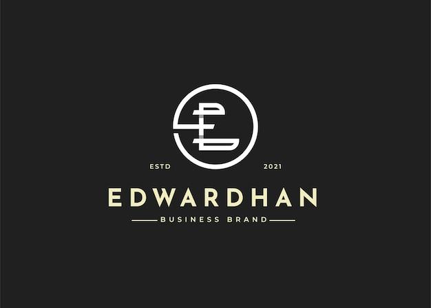 Projekt logo litery e w kształcie koła