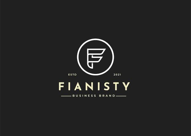 Projekt logo litery f w kształcie koła