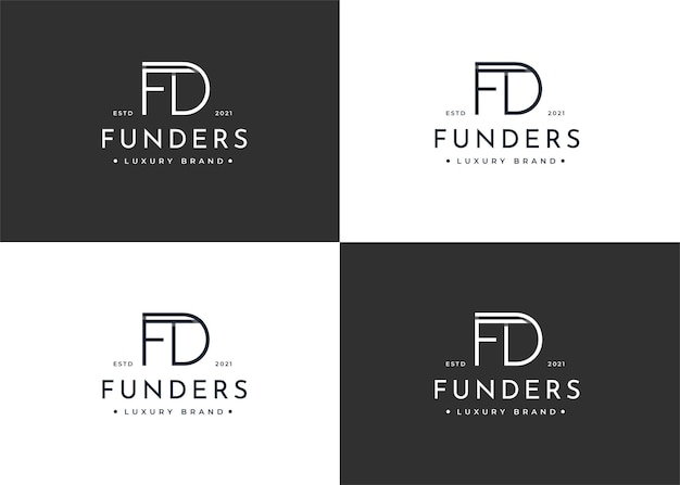 Projekt logo litery fd dla marki osobistej lub firmy