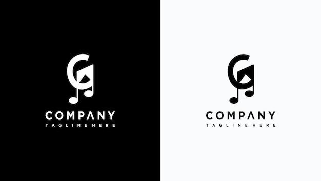 Projekt logo litery g muzyka premium wektorów