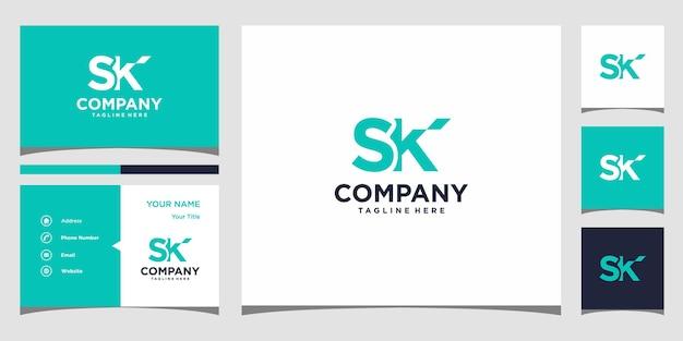 Projekt logo litery sk i wizytówka premium wektor