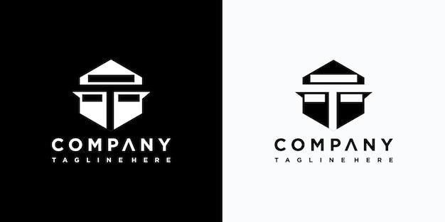 Projekt logo litery t premium wektorów