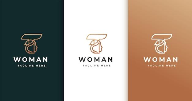 Projekt logo litery t z twarzą kobiety