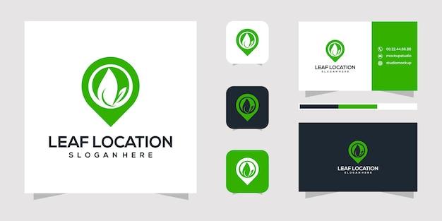 Projekt logo lokalizacji liścia i wizytówki