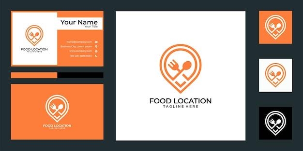 Projekt logo lokalizacji nowoczesnej żywności i wizytówki. dobre wykorzystanie logo restauracji aplikacji ikony