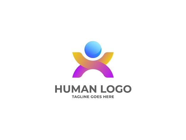 Projekt logo ludzkiego premium wektor szablon