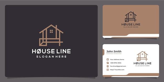 Projekt logo luksusowego domu monoline i wizytówka