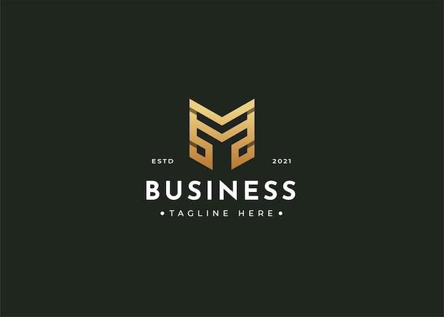 Projekt logo luksusowego monogramu litery m
