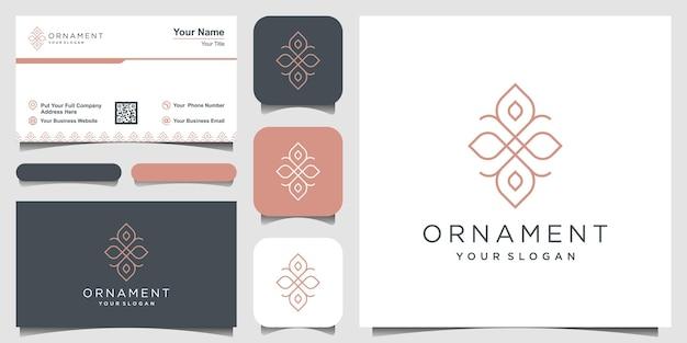 Projekt logo luksusowego ornamentu i projekt wizytówki