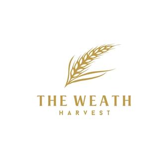 Projekt logo luksusowego złotego ziarna weath / ryżu