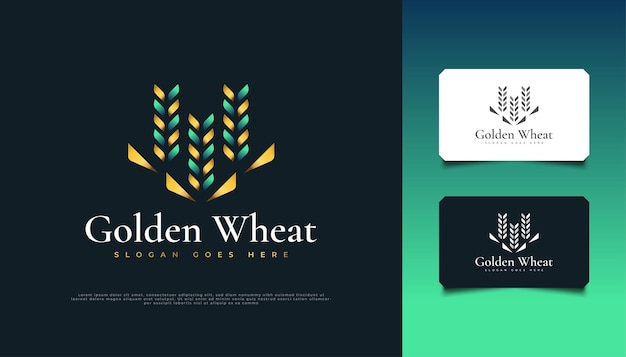 Projekt logo luksusowej zielonej i złotej pszenicy