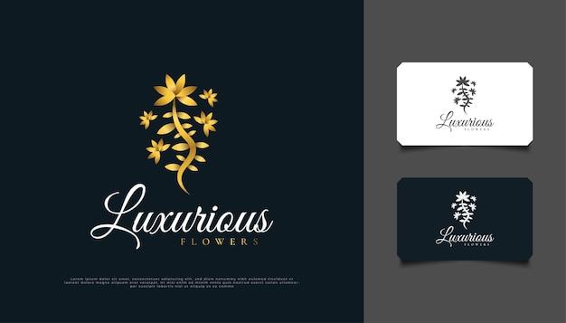 Projekt logo luksusowych złotych kwiatów, odpowiedni do spa, urody, kwiaciarni, kurortu lub produktu kosmetycznego cosmetic