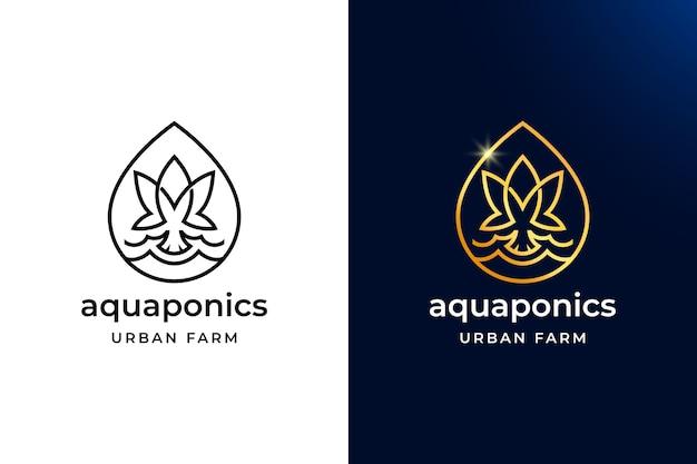 Projekt logo luxury and simple aquaponics. liść i ryba z kroplami wody najlepiej symbolizują miejską farmę