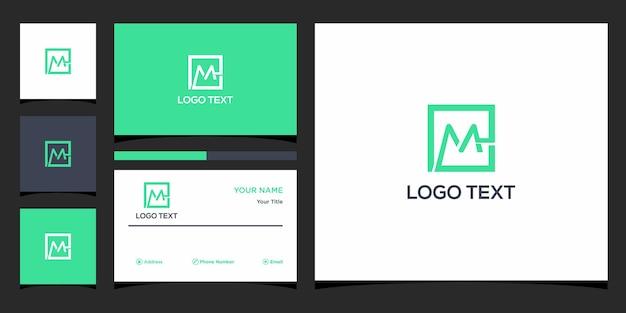 Projekt logo m z szablonem wizytówki premium wektorów