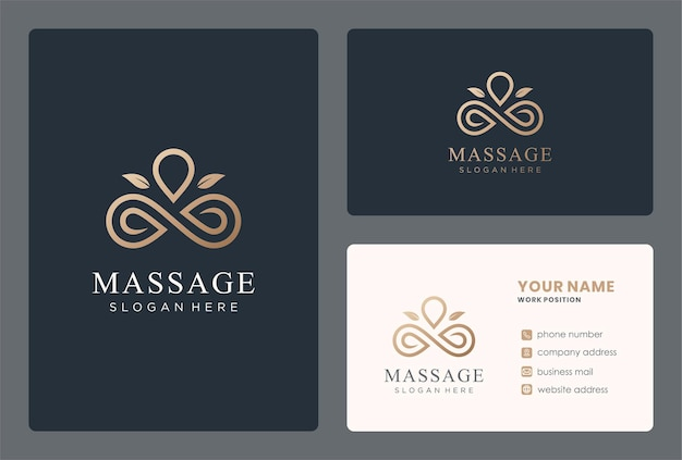 Projekt logo masażu monogramem w złotym kolorze.