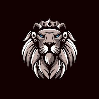 Projekt logo maskotka lwa na brązowym tle