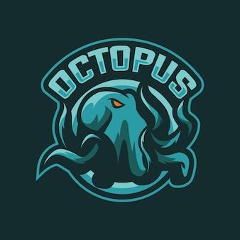 Projekt logo maskotka ośmiornicy na zielonym tle