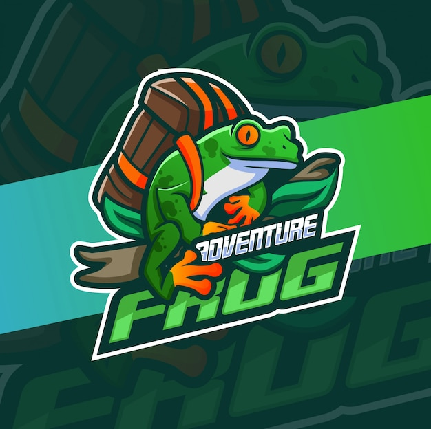 Projekt logo maskotka przygoda żaba
