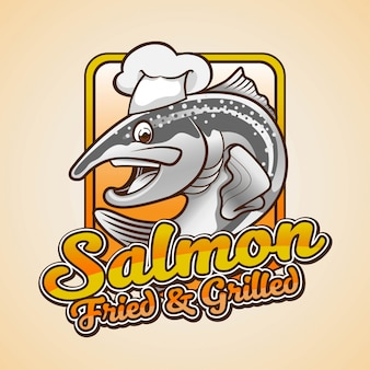 Projekt logo maskotka smażony i grillowany łosoś