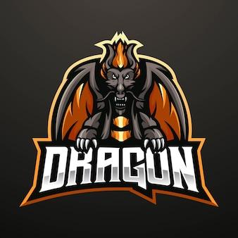Projekt logo maskotka smoka na szarym tle