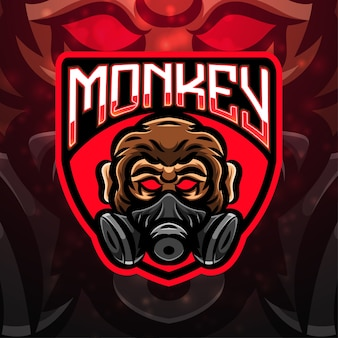 Projekt logo maskotka sport małpa