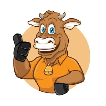 Projekt logo maskotka uśmiech krowy bydło