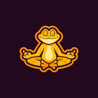 Projekt logo maskotka żaba zen