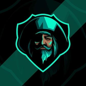 Projekt logo maskotka zielony piratów