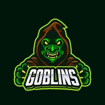 Projekt logo maskotka zielony zły goblin ogre