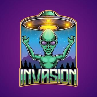 Projekt logo maskotki alien e-sport