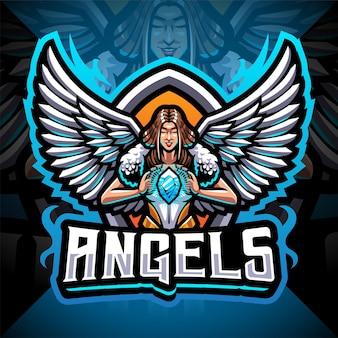 Projekt logo maskotki aniołów esport
