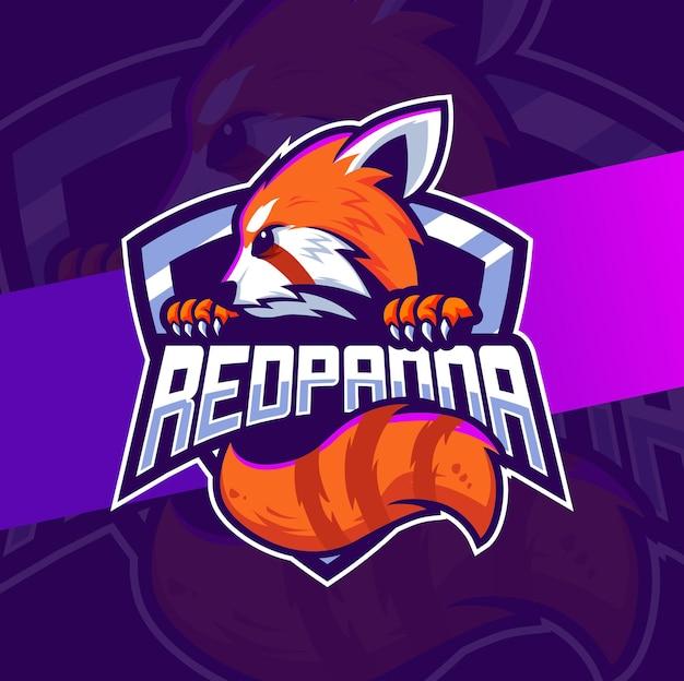 Projekt logo maskotki czerwonej pandy dla logo gry i sportu