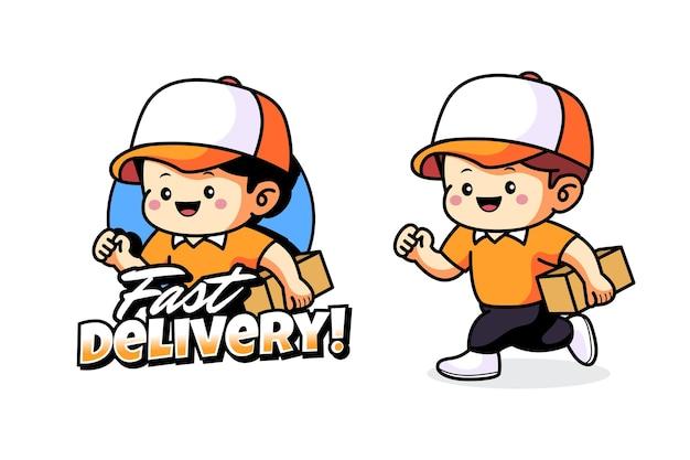 Projekt logo maskotki dostawy