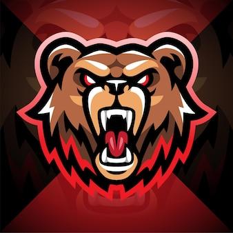 Projekt logo maskotki e-sportowej głowy niedźwiedzia